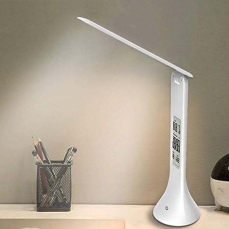 XIAOKOA Lámpara de mesa LED, estudio de protección ocular Lámpara de lectura con luz nocturna y brillo de 3 niveles, Control táctil