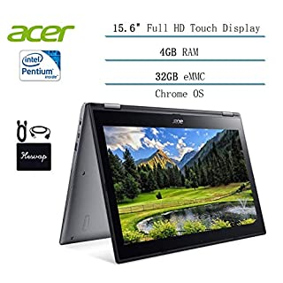 2020 Newest Acer Chromebook Spin 15.6 Convertible Laptop for business and student, Intel Pentium N4200, 15.6 inch FHD Touchscreen, 4GB DDR4, 32GB eMMC, 802.11ac, Chrome OS w/HESVAP Accessories (N4200)