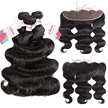 Image of Ama 10A Brazilian Virgin Human Hair Bundles with Frontal (16' 18' 20'+14') Body Wave Human Hair 3 Bundles with 13×4 Lace Frontal Closure 100% Unprocessed Remy Human Hair Extensions Natural Color Health and Household