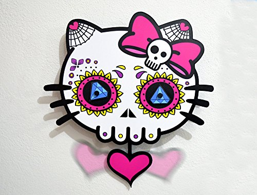 Big Sugar Skull Dead Kitty - Day of the Dead -Dia de Los Muertos - Calavera - Pendulum Wall Clock - Wall (Hello Kitty Dia De Los Muertos)