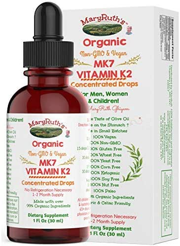 Organic Vitamin K2 (MK7) Liquid Drops by MaryRuth's Non-GMO Vegan Gluten Free Paleo, Ketogenic, Bariatric Friendly and Celiac Friendly. Soft Taste for Men, Women & Children 1oz Glass Bottle