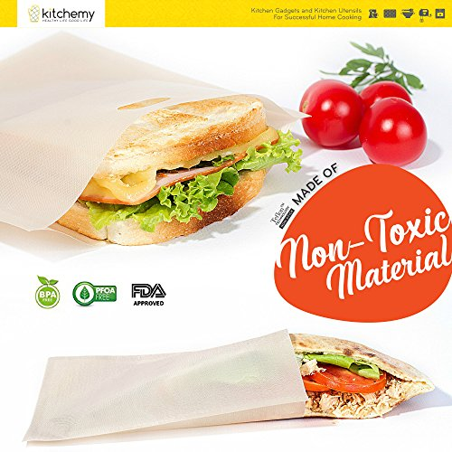 2018 UPGRADED 12 Pack Toaster Bags Reusable for Grilled Cheese Sandwich | Safest On The Market - FDA & LFGB Approved - 100% BPA & Gluten Free | Non Stick Toast Bag Made of Premium Quality Teflon by Kitchemy (Image #2)