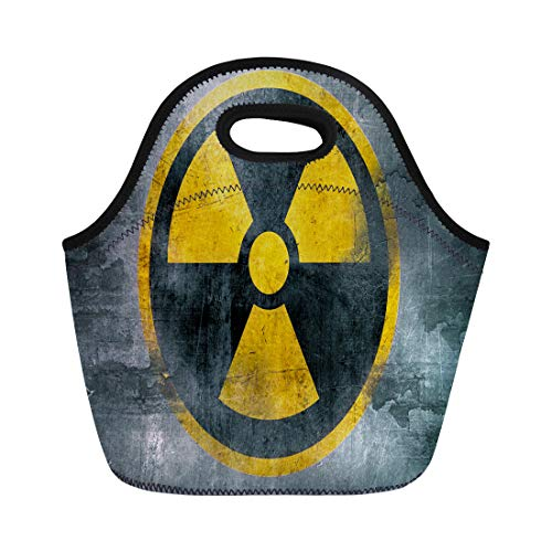 Semtomn Neoprene Lunch Tote Bag Yellow Nuclear Radioactive Symbol Reactor Sign Hazard Radiation Waste Reusable Cooler Bags Insulated Thermal Picnic Handbag for Travel,School,Outdoors,Work