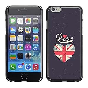 [Neutron-Star] Snap-on Series Teléfono Carcasa Funda Case Caso para Apple (4.7 inches!!!) iPhone 6 / 6S [El amor de la bandera de Londres gris del corazón Unión Uk]