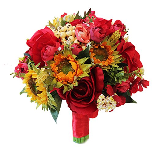 - TOPMAX Roses Sunflowers Hand Bouquet Bridal Bridesmaid Artificial Flowers Wedding (Red + Yellow)