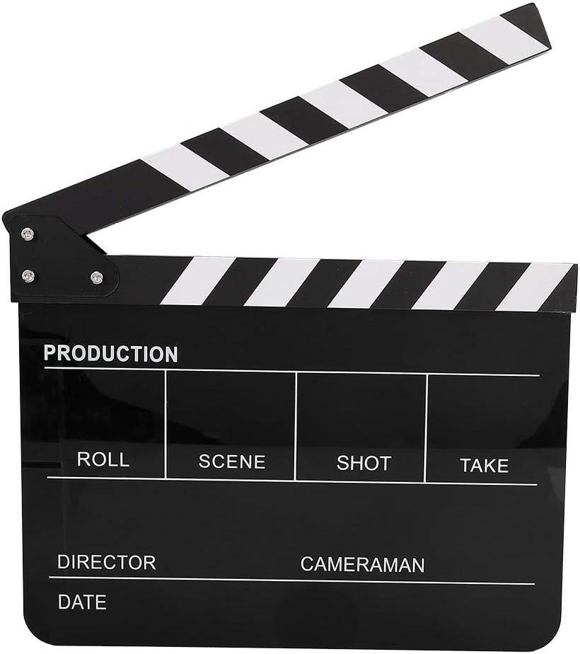 Szene Acryl Filmklappe Schwarz-Weiss Regisseur TV Movie Cut Action Szene Filmklappe f/ür Shoot Requisiten//Werbung//Home Decoration//Cosplay//Hintergrund mit Stift