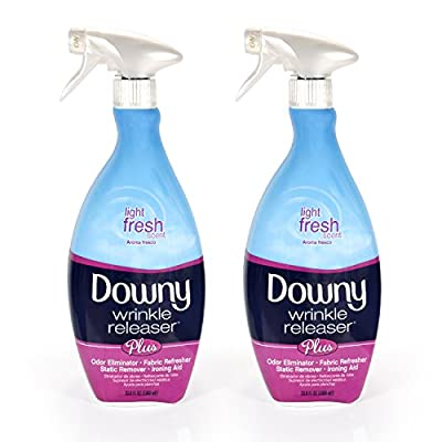 Downy Wrinkle Release Spray Plus, Static Remover, Odor Eliminator, Fabric Refresher and Ironing Aid, Light Fresh Scent, 33.8 Fluid Ounce