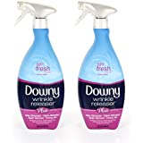 Downy Wrinkle Release Spray Plus, Static Remover, Odor Eliminator, Steamer for Clothes Accessory, Fabric Refresher and Ironing Aid, Light Fresh Scent, 33.8 Fluid Ounce (Pack of 2)
