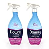 #10: Downy Wrinkle Release Spray Plus, Static Remover, Odor Eliminator, Fabric Refresher and Ironing Aid, Light Fresh Scent, 33.8 Fluid Ounce (Pack of 2)