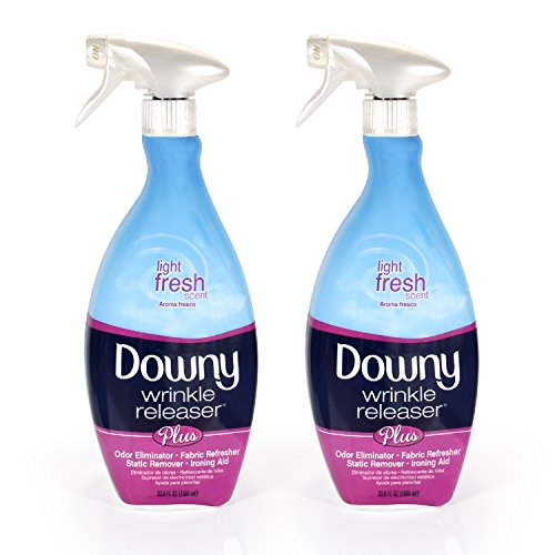 Fabrics That Care - Downy Wrinkle Release Spray Plus, Static Remover, Odor Eliminator, Fabric Refresher and Ironing Aid, Light Fresh Scent, 33.8 Fluid Ounce (Pack of 2)