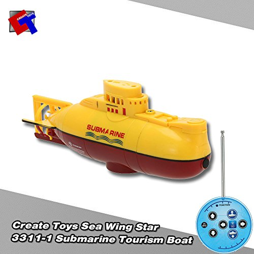 Create Toys 3311 Mini RC Submarine 3CH Radio Remote Control Toy with USB Charge Cable (Yellow) (Remote Control German Submarine)
