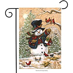 "Briarwood Lane Winter Friends Garden Flag Snowman & Cardinals Winter Seasonal Banner 12.5""x18"""