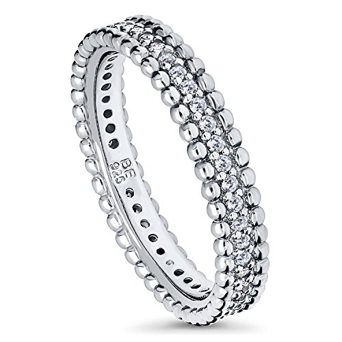 BERRICLE Rhodium Plated Sterling Silver Cubic Zirconia CZ Bead Wedding Eternity Band Ring Size 9 ()