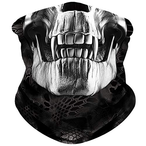 - NTBOKW Skull Mask Half Face Mask Bandana for Sun Dust Wind Protection Mask for Riding Motorcycle Cycling Fishing Hunting Summer Seamless Bandana 3D Skeleton Tube Mask for Men Women (Skull Mask 0107)