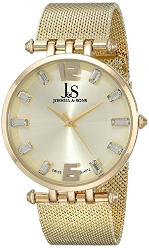 Joshua & Sons Men's JS90YG Yellow Swiss Quartz Watch With Champagne Dial and Yellow Gold Mesh Bracelet