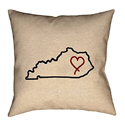 "ArtVerse Katelyn Smith Kentucky Love 16"" x 16"" Pillow-Poly Twill Double Sided Print with Concealed Zipper Cover Only"