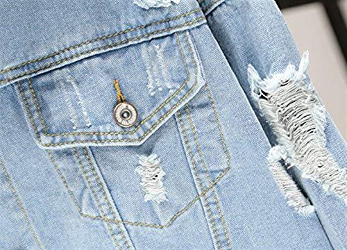 Giacca Festiva Autunno Button Giaccone Lunga Semplice Primaverile Jacket Bavero Cappotto Glamorous Jeans Libero Con Strappato Donna Blau Tempo Denim Outerwear Multi tasca Moda Manica Eleganti rqxr1Bzt