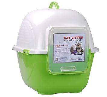 WSHA Caja De Arena Totalmente Cerrada para Gatos Caja De Arena contra Salpicaduras para Baño Bisagras para Gatos,L: Amazon.es: Hogar