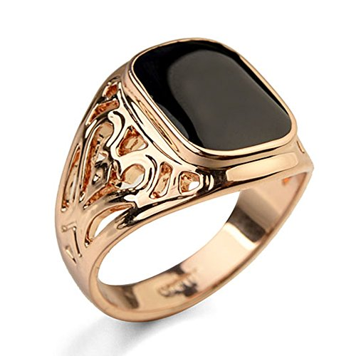 - Star Jewelry Signet Pinky Ring with Black Square Enamel 18K Gold Plated for Men and Women Size 6-14