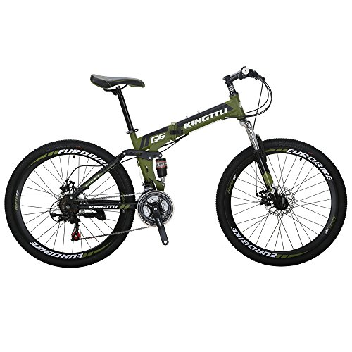 Kingttu KTG6 Mountain Bike 21 Speed 26 Inches Dual Suspension Folding Mountain Bike Army Green
