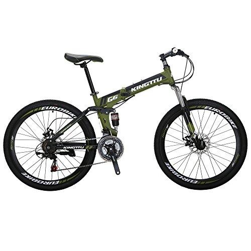 Kingttu KTG6 Mountain Bike 21 Speed 26 Inches Dual Suspension Folding Mountain Bike Army Green 2019