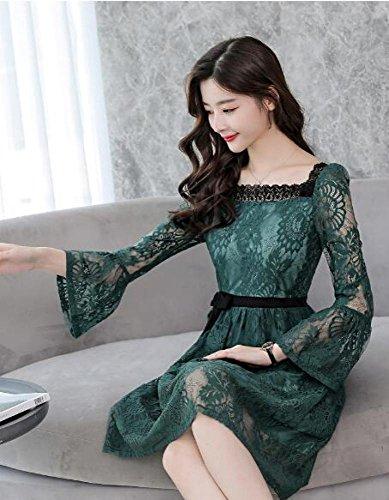 a lunghe sottile lungo verde maniche Abito SLR sottile in elegante elegante Abito pizzo wqEnf