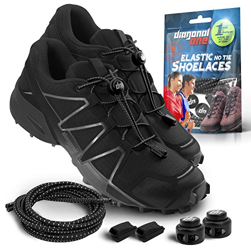Diagonal One Elastic Shoe Laces for Adults & Kids - No Tie Shoelaces for Sneakers, Boots or Tennis, Running Shoes - Adjustable Tieless Shoelace Locks. Great Shoe Strings in a Variety of Colors (Black)