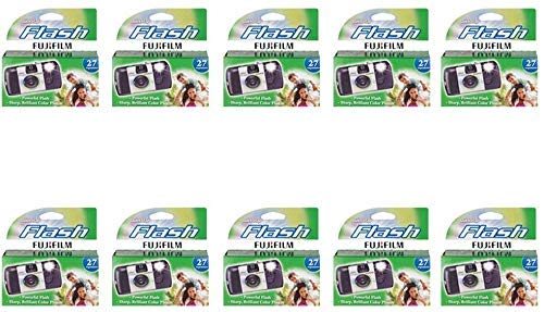 Fujifilm Quicksnap Flash Disposable Camera 35mm Film Single Use 800 ISO (10 -Pack) (Renewed)