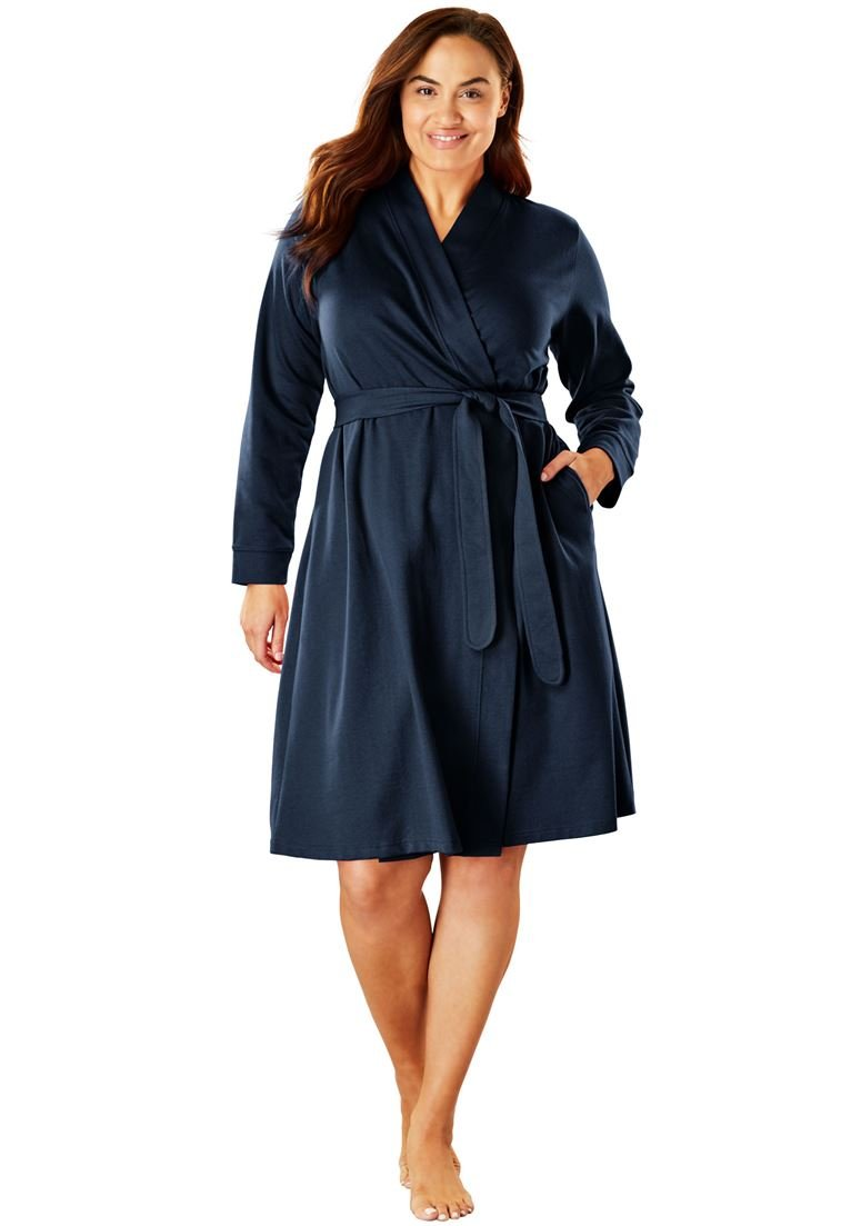 Dreams & Co. Women's Plus Size Short Wrap Robe Navy,22/24