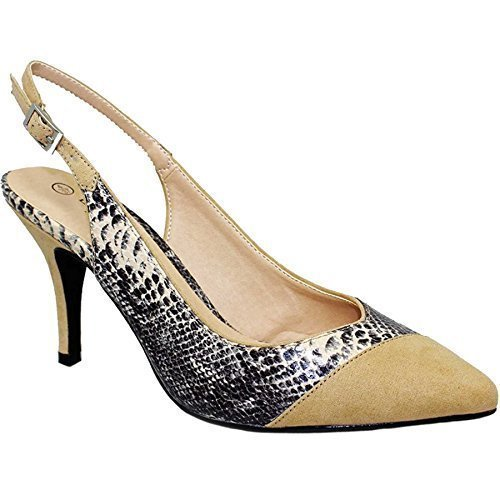 Womens Snake Heels Sling Shoe Toe Court Low Boutique Suede Beige Only Flv359 Back Tessie Sapphire Pointed wzftqx