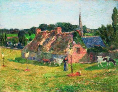 Oil Painting 'Lollichon's Field And The Church Of Pont-Aven, 1886' 24 x 31 inch / 61 x 78 cm , on High Definition HD canvas prints is for Gifts And Foyer, Garage And Living Room Decoration, wall (73 Brown Frame Sunglasses)