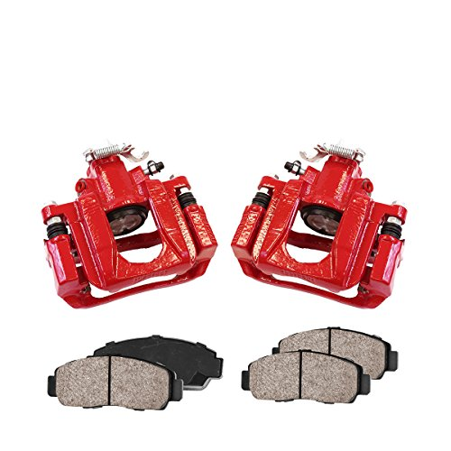 CCK03272 REAR [2] Performance Red Powder Coated Calipers + [4] Quiet Low Dust Ceramic Brake Pads ()
