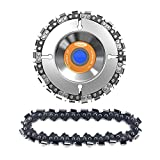 Moshbu 4 Inch Angle Grinder Disc, 22 Tooth Wood Carving Chainsaw Disc, Cemented Carbide Circular Saw Blade Chain Plate and Replacement Chain Set for 100/115 Angle Grinder, 5/8 Inch Center Hole