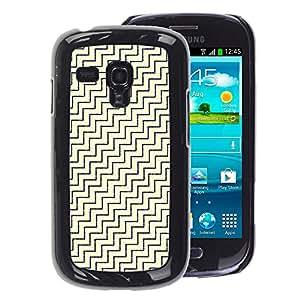 A-type Arte & diseño plástico duro Fundas Cover Cubre Hard Case Cover para Samsung Galaxy S3 MINI 8190 (NOT S3) (Diagonal White Gold Pattern)