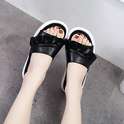 Sport Slip à Été Casual Mules Automne à Enfiler Semelle Comfort Chaussures en Large Overdose Femme on Chaussons Cuir Noir Plateforme Plates A1xCUwa4qC