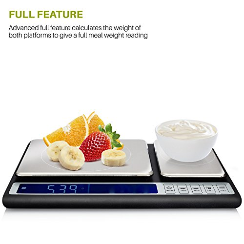 Smart Weigh Culinary Kitchen Scale 10 kilograms x 0.01 Grams, Digital Food Scale with Dual Weight Platforms for Baking, Cooking, Food, and Ingredients