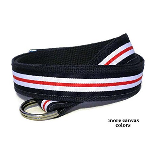 Mens Belt/Canvas Ribbon Belt, D-Ring Belt for Men, Nautical Stripe in red white and blue Made in the USA - sizes SX to Big and Tall - Blue Vine Stripe