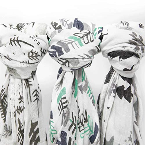 (Muslin Swaddle Blanket Set 'Adventurer' Large 47x47 inch | Super Soft Bamboo Blankets | Arrow, Feather and Stars | 3 Pack Baby Shower Gift Bundle of Swaddles for Boys and Girls | 10,000 Wash Warranty)