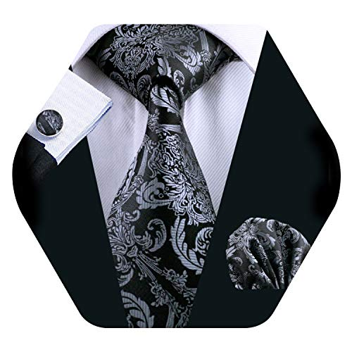 Barry.Wang Mens Silk Paisley Tie Set Black Silver Necktie Pocket Square Cufflinks - Black Silk Paisley Tie