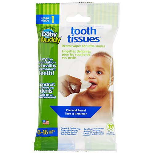 Newborn Oral Care - Baby Buddy Tooth Tissues Stage 1 for Baby/Toddler, Bubble Gum Flavor Kids Love, White, 60 Count