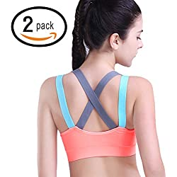 HeartFor Racerback Sports Bras for Women - Padded High Impact Workout ,Pack of 2