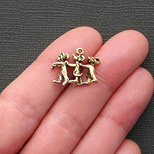 (5 Three Blind Mice Charms Antique Gold Tone Just Adorable 3D for Pendant Bracelet DIY Jewelry Making)