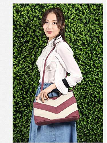 de coffee Bolso de niña con marrón Purple Mujer li Casuales Mano Lona Talla para Shu única Mujer Costuras gqTwSBIwW