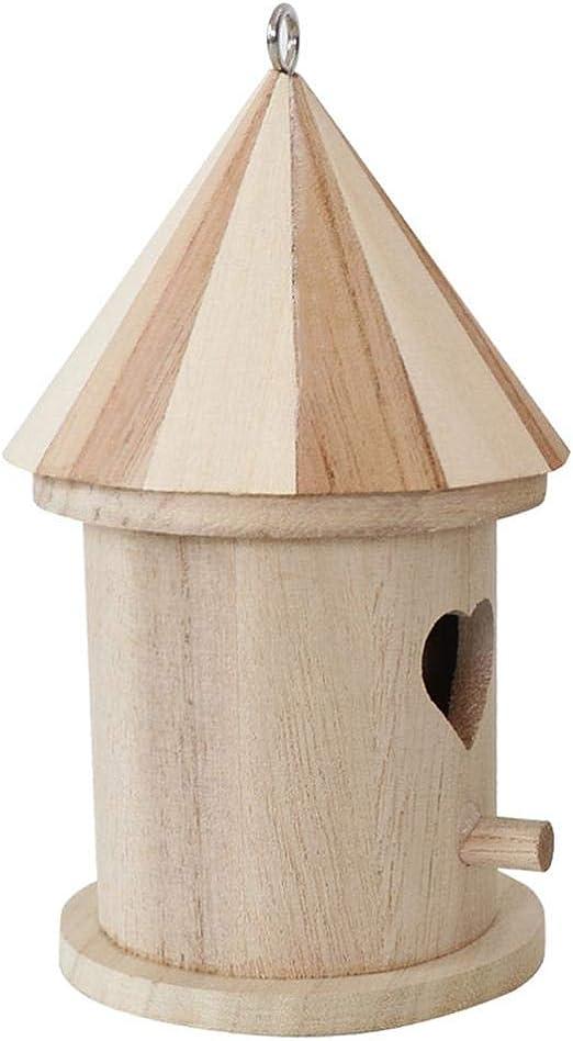 Pajarera de madera, caseta de pájaros para colgar al aire libre, artesanía para niños, para el jardín, decoración del hogar, 8 x 8 x 16 cm EIN -: Amazon.es: Hogar