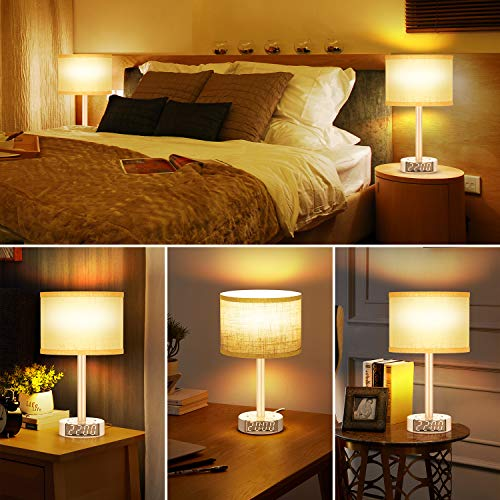 Table Lamp with Alarm Clock, Touch Control Bedside Lamp with 2 AC Outlets & 2 USB Ports, Alarm Clock Charging Base, 6Ft Power Cord, 3 Level Brightness Modern Nightstand Lamps for Home Bedroom Dorm
