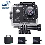 2.0-Inch WIFI HD 1080P Waterproof Action Camera Black 12MP Diving 30M Underwater Camera With 2PCS Battery, Helmet Cam Bicycle Sports Camera for Biking, Racing, Skiing, Motocross And Water Sports