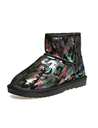 Women 's winter snow boots Colorful printing shose leather non - slip short boots ( Size : US:6.5\UK:5.5\EUR:38 )