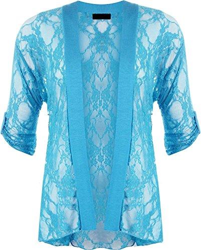 Femme Taille Turquoise Gilet Courtes Noir Unique 21fashion Manches wxtqpt
