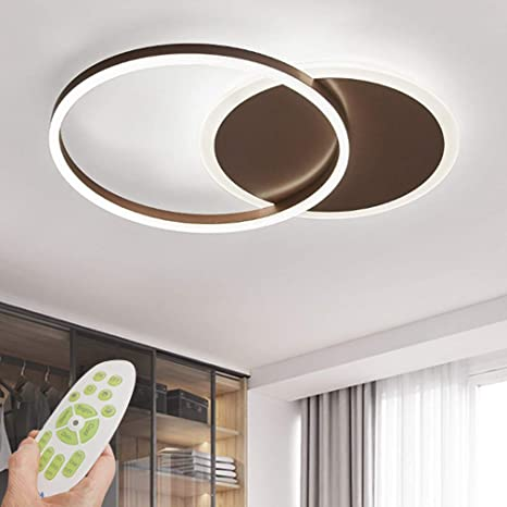 Rings Acrylic Modern Ceiling Light Dimmable Led Ceiling Chandelier With Remote Control Living Room Lamp Dining Table Creative Design Ceiling Lighting For Bedroom Kitchen Island Light Brown 2 Ring Amazon Com