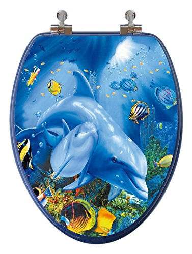 TOPSEAT 6TS3E1151CP 810-1 3D Ocean Series Elongated Toilet Seat with Metal Hinges Dolphin Family